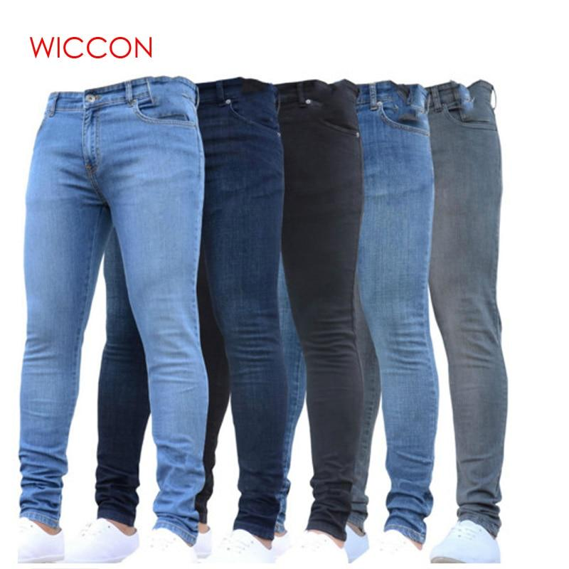 0232d385 New Mens Pencil Pants 2019 Fashion Men Casual Slim Fit Straight Stretch  Feet Skinny Zipper Jeans For Male Hot Sell Trousers