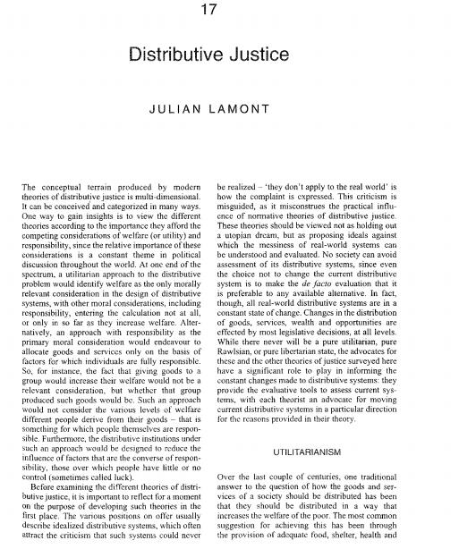 Lamont J And Favor C 2008 Distributive Justice Zalta E N The Stanford Encyclopedia Of Philosop Encyclopedia Of Philosophy Cognitive Enhancement Lamont