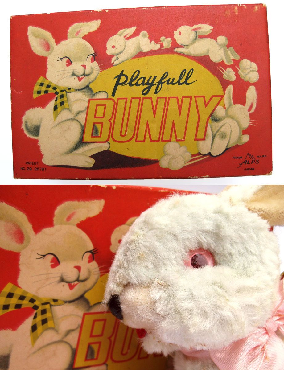 Playful Bunny Vintage 50s Battery Operated Toy White Rabbit - Alps Mechanical Moving Cute Doll Funky Original Box Package Easter Bunny
