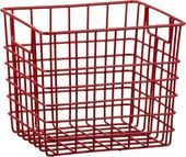 Small Red Metal Bin with Handles in Storage Baskets Bins | Crate and Barrel
