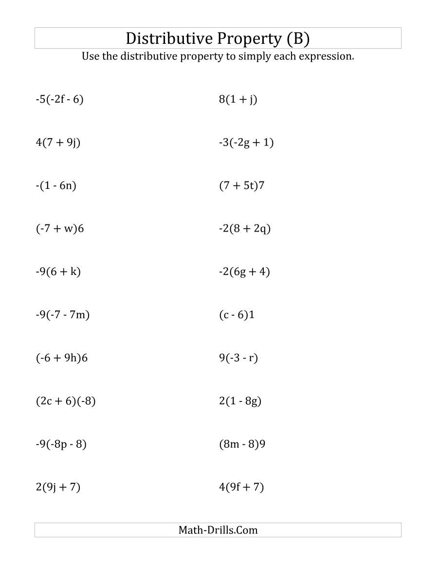 The Using the Distributive Property (Answers Do Not Include ...