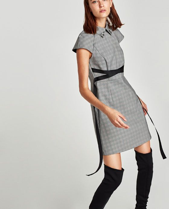 cff6dc9e CHECKED DRESS WITH CONTRASTING BELT from Zara | vestidos | Dresses ...