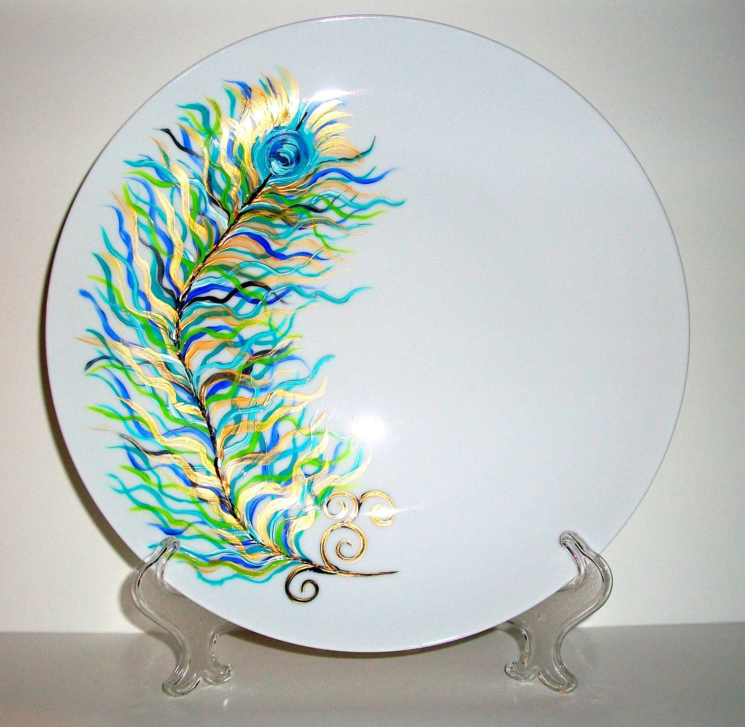 Painted Couple Peacock Wedding Gifts Unique Delicate Home: Handpainted Wedding Plate Hand Painted Peacock Feathers