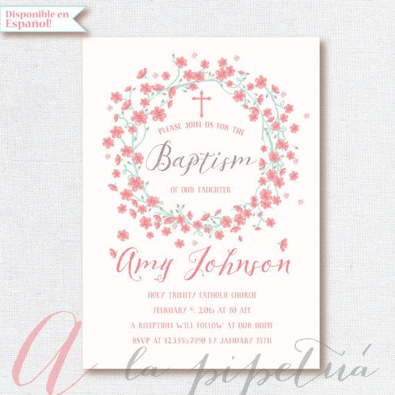 Baptism invitation pastel colors floral baptism invitation baptism invitation pastel colors floral baptism invitation printable invitation caligraphy invite stopboris Gallery