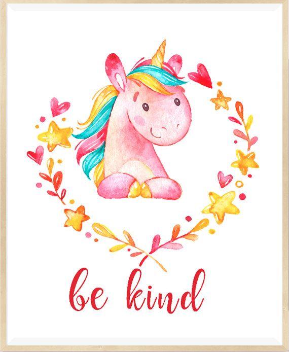 Be Kind Print Unicorn Wall Art Nursery Printable