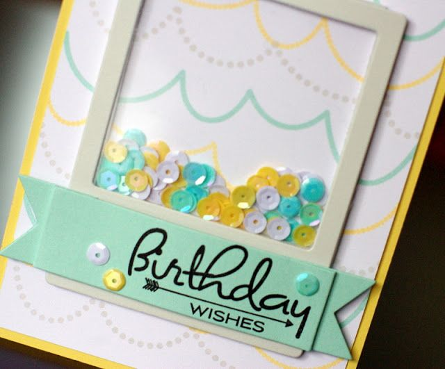shaker card with sequins