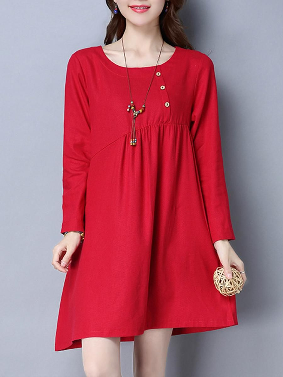 83412173e5 #EnvyWe #BerryLook - #berrylook Round Neck Long Sleeve Pocket Plain Shift  Dress - EnvyWe.com