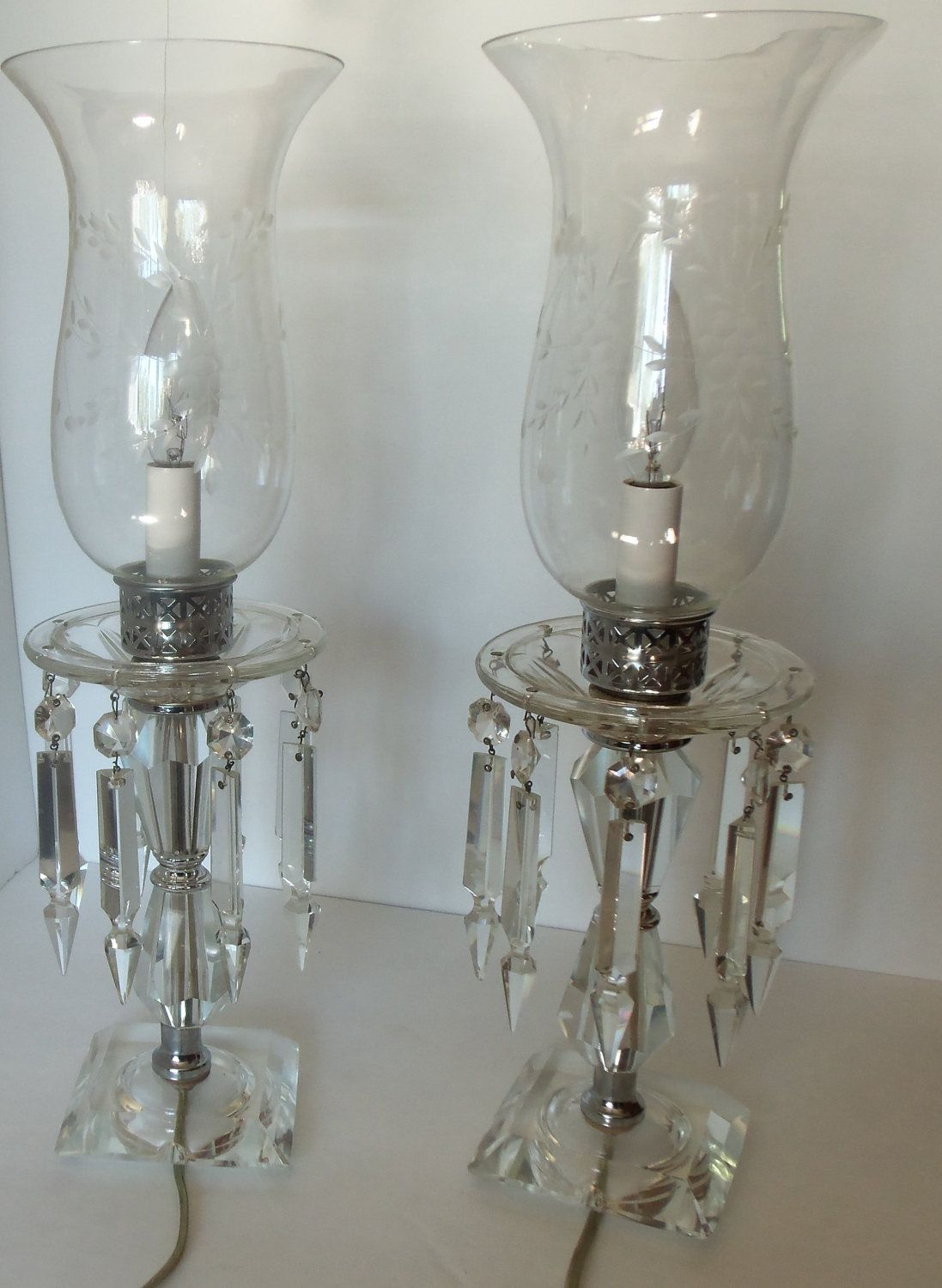 Antique Hurricane Lamps | Beautiful Vintage Crystal Hurricane Lamps With  Hanging Prisms C. 1940