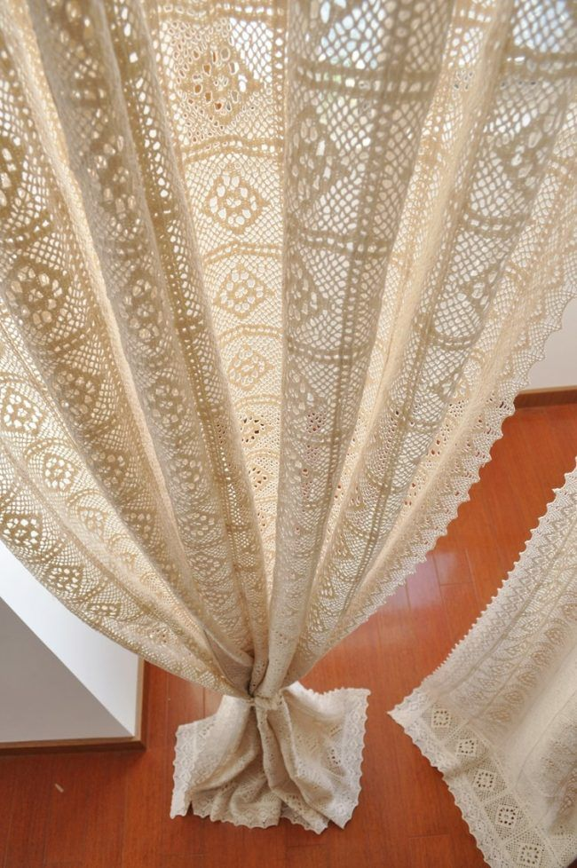 haekelgardinen modern romantisch bodenlang cremeweiss spitze handgemacht gardinen. Black Bedroom Furniture Sets. Home Design Ideas