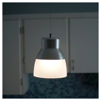 Battery Operated Nickel Glass Pendant Light With Remote Adult