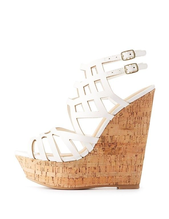 Critson White Wedge Shoes White Wedge Sandals Caged Wedge Sandals