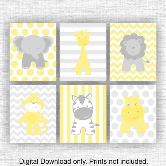 INSTANT DOWNLOAD Yellow Gray Jungle Animals Elephant Giraffe Hippo ...