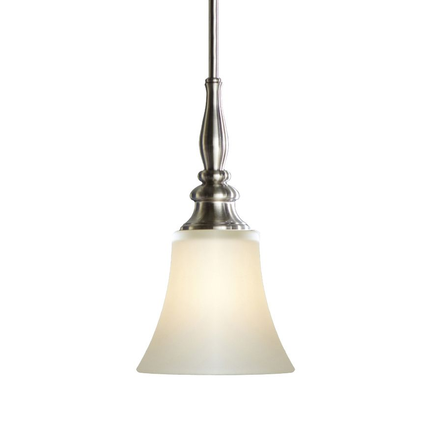 shop allen roth 646in w brushed nickel mini pendant light with frosted shade