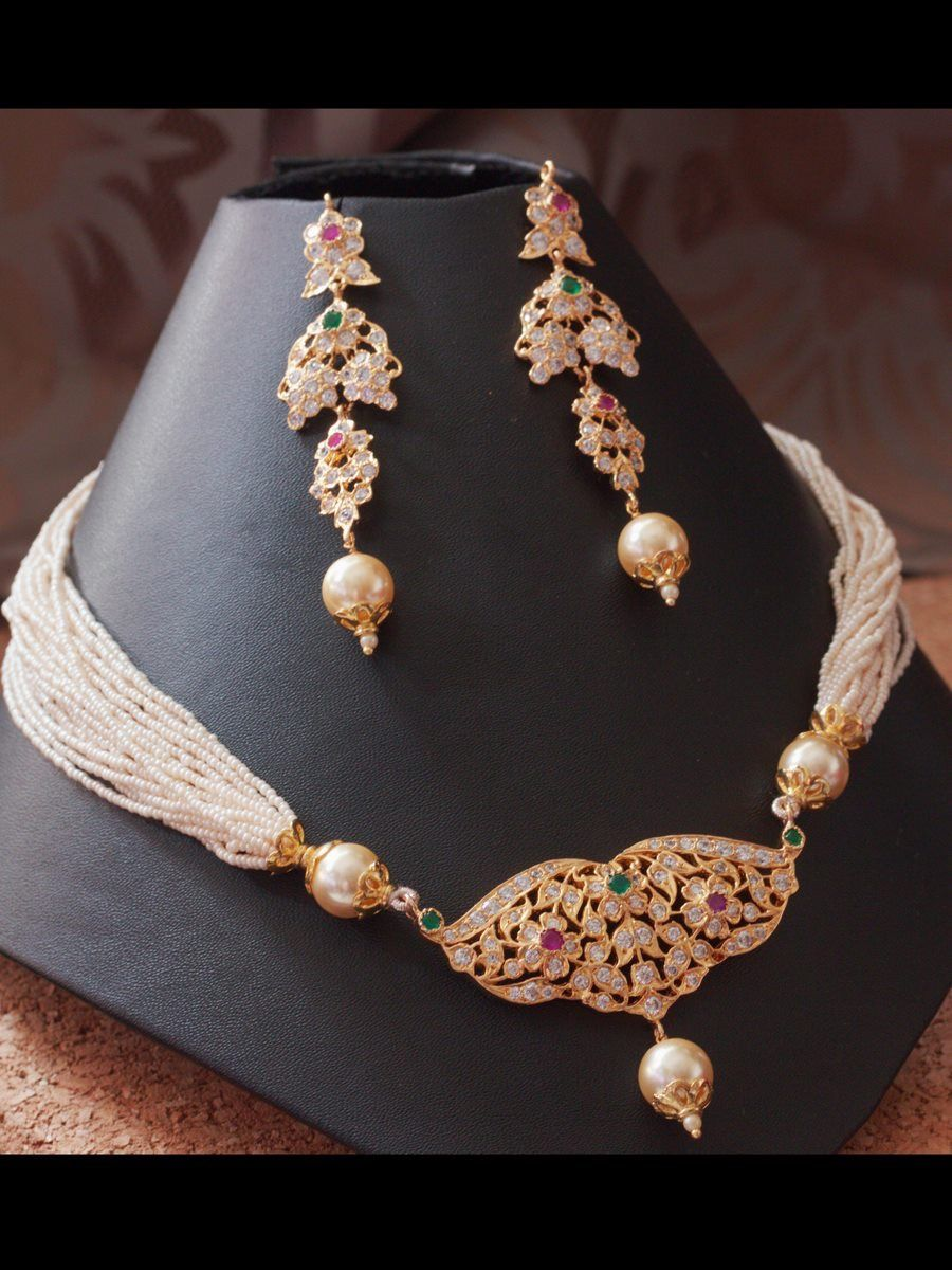 Simple Elegant Diamond And Pearl Pendant Necklace Touched Beautifully With Green And Red Tourma Gold Necklace Indian Bridal Jewelry Jewelry Beautiful Jewelry