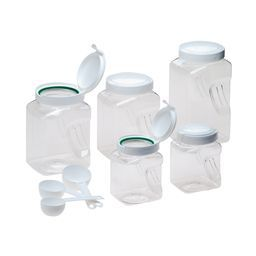10 Pc Airtight Square Canister Box Set Snapware Food Storage Plastic Canisters