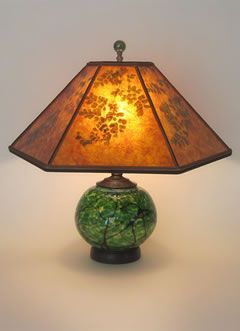 Mica Lamp Shade Glamorous Handblown Green Glass Lamp With Lighted Base Mica Lamp Shade With Design Inspiration