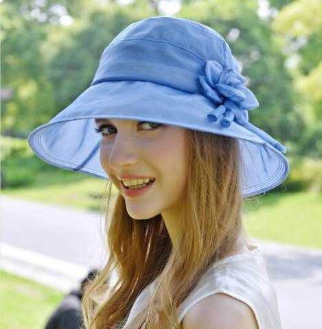 d60a1c31b1c Simple flower silk sun hat for women summer bucket hats UV protection