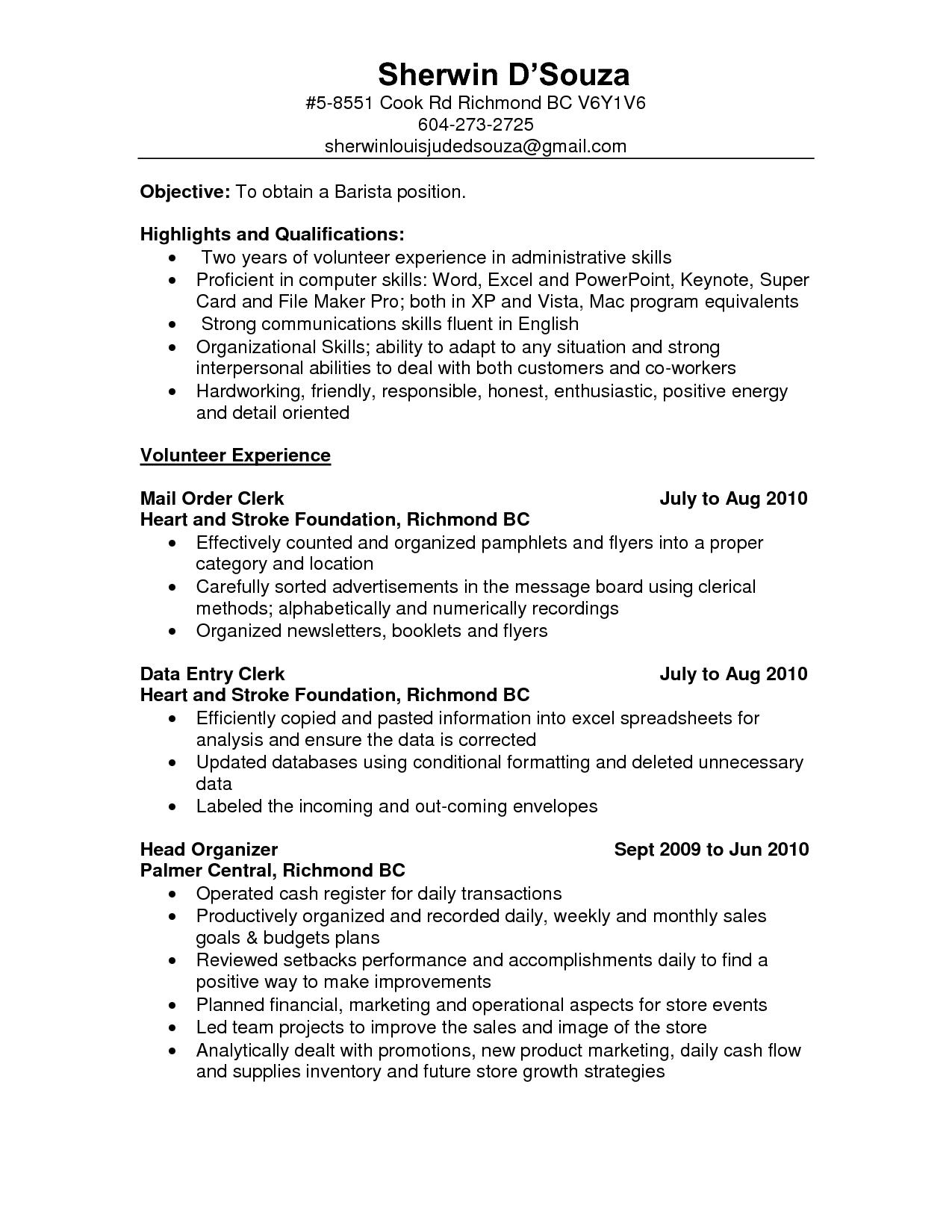Resume Sample For Barista Resumesdesign Sales Resume Examples Resume Examples Sample Resume