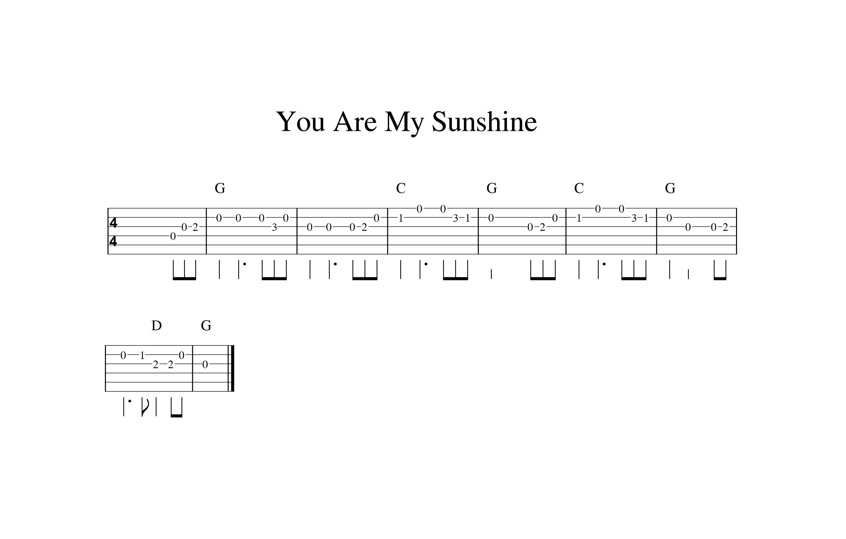 You Are My Sunshine Easy Guitar Tab Guitar Lessons Guitar Sheet Music Guitar Tabs How to read guitar sheet music