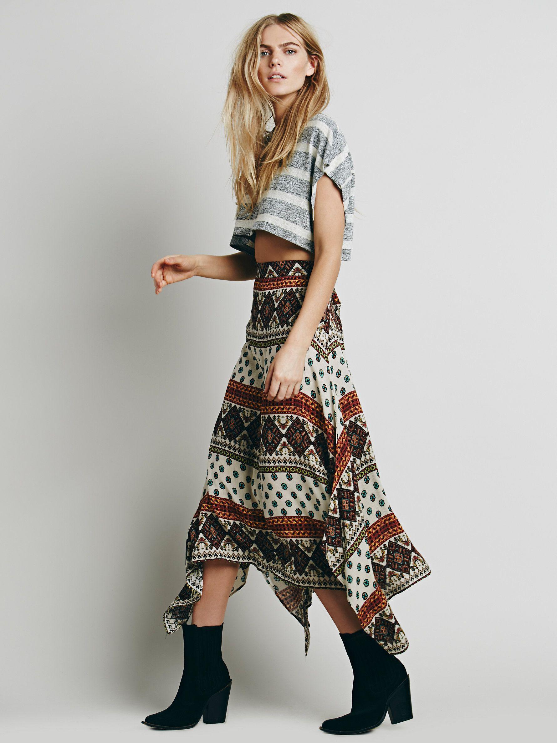 Free People Arabella Printed Maxi Skirt