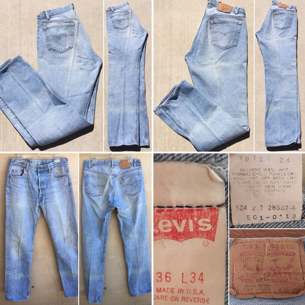 922a6a20707 Vintage Levi's 501 0113 Jeans Button Fly Made In USA 36 34 Measure 34 34 |  eBay