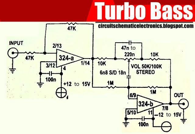 turbo bass with ic lm324 pinterest circuits audio and circuit rh pinterest com J Bass Wiring Ibanez Soundgear Bass Wiring Diagram