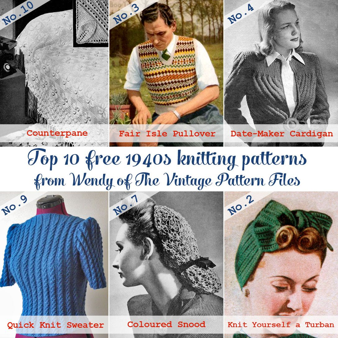 Guest post: Top 10 free 1940s knitting patterns from the Vintage ...