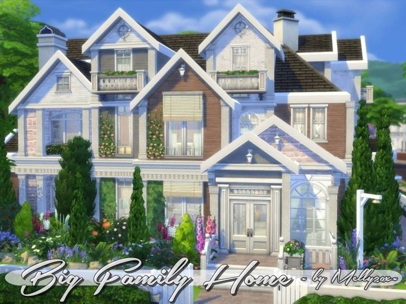 This Large Family Home Can Accommodate More Than 8 Sims It Has 3 Floors And 1000 Sims 4 Family House Sims 4 Family Sims 4 House Design