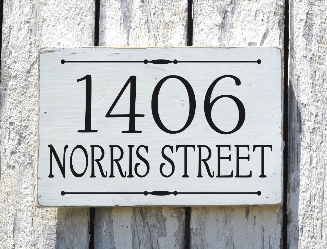 Address Plaque Custom House Numbers Sign Painted Personalized Outdoor Wood  Home Number Signage Rustic Hanging Lamp