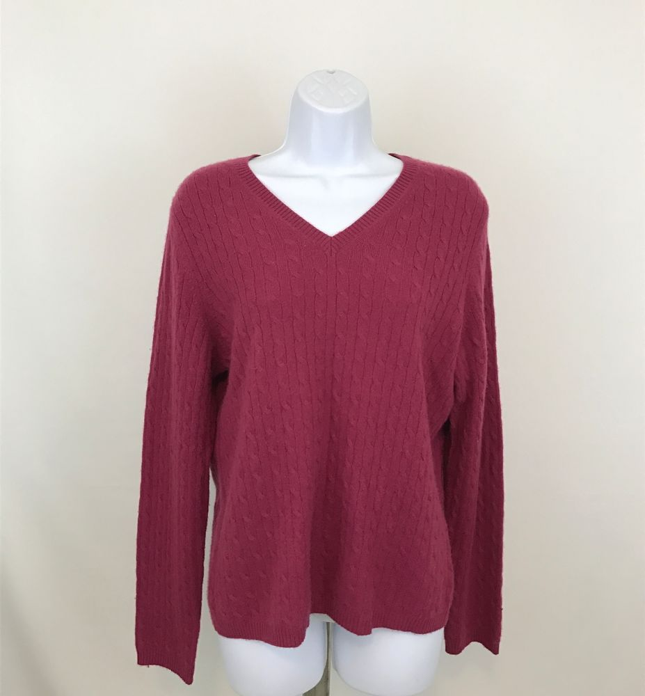 Charter Club Womens 2 Ply Cashmere Sweater Size L Pink Cable Knit ...