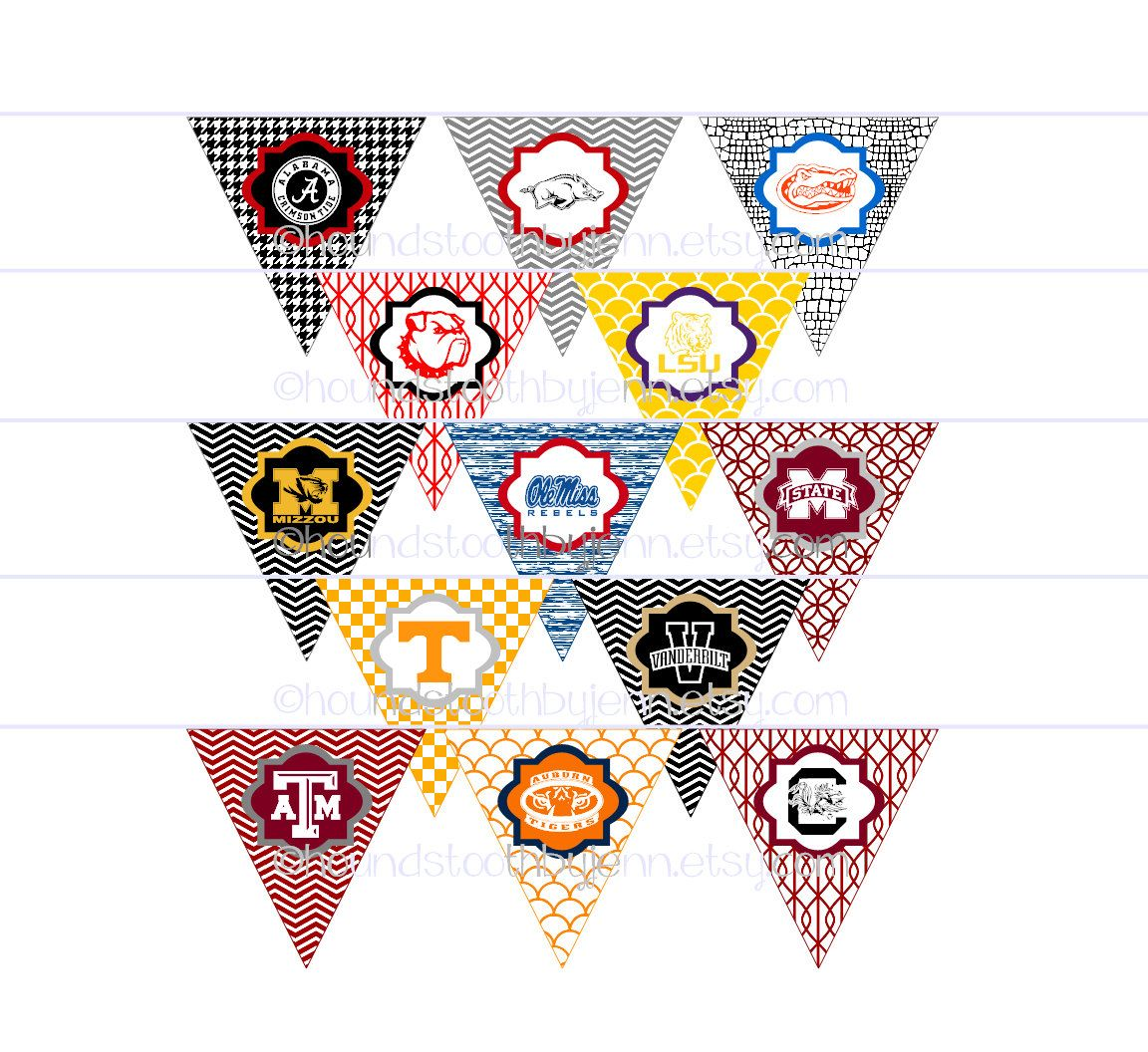 College NFL Team Printable Pennants Tailgate Banners Diy