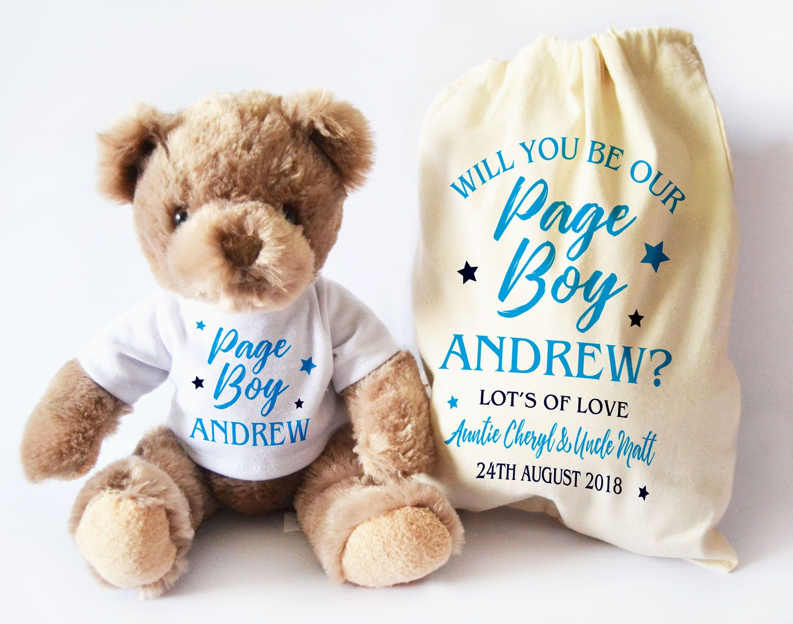 Personalised Will You Be Our Page Boy Teddy Bear Gift Set Proposal Baby And Toddler Keepsake Bag