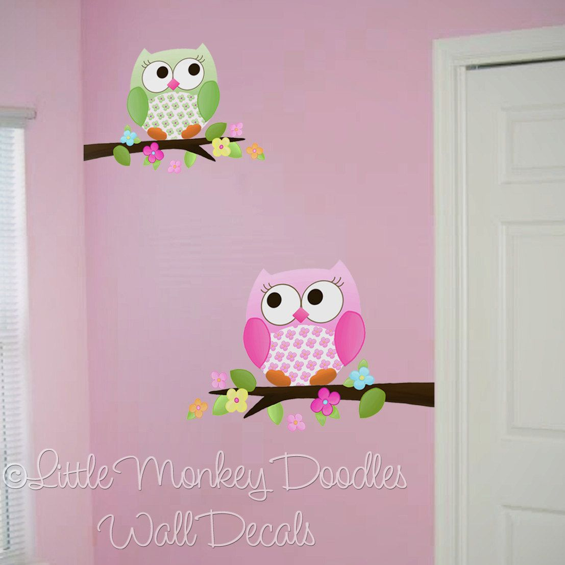 Owls Love Flowers Girls Nature Forest Bedroom Nursery WALL