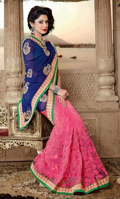 USD 86.1 Blue and Pink Net Party Wear Saree 30430
