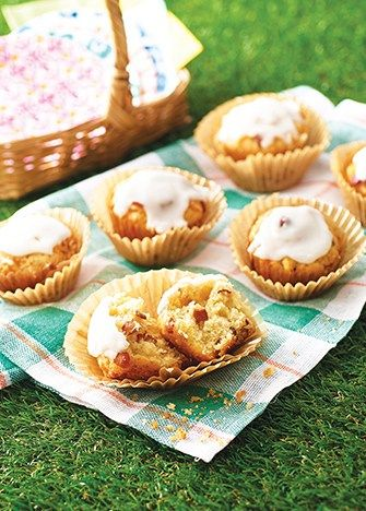 muffins de tocino glaseados