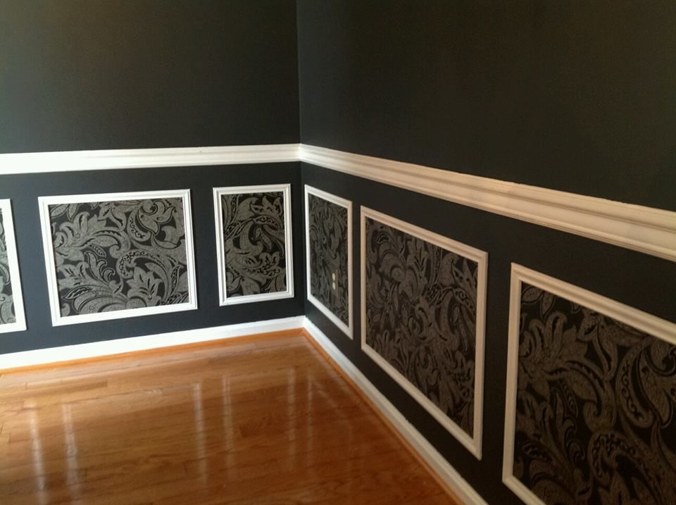 Our Gray Black Silver and White Dining Room. Wallpaper inside ...