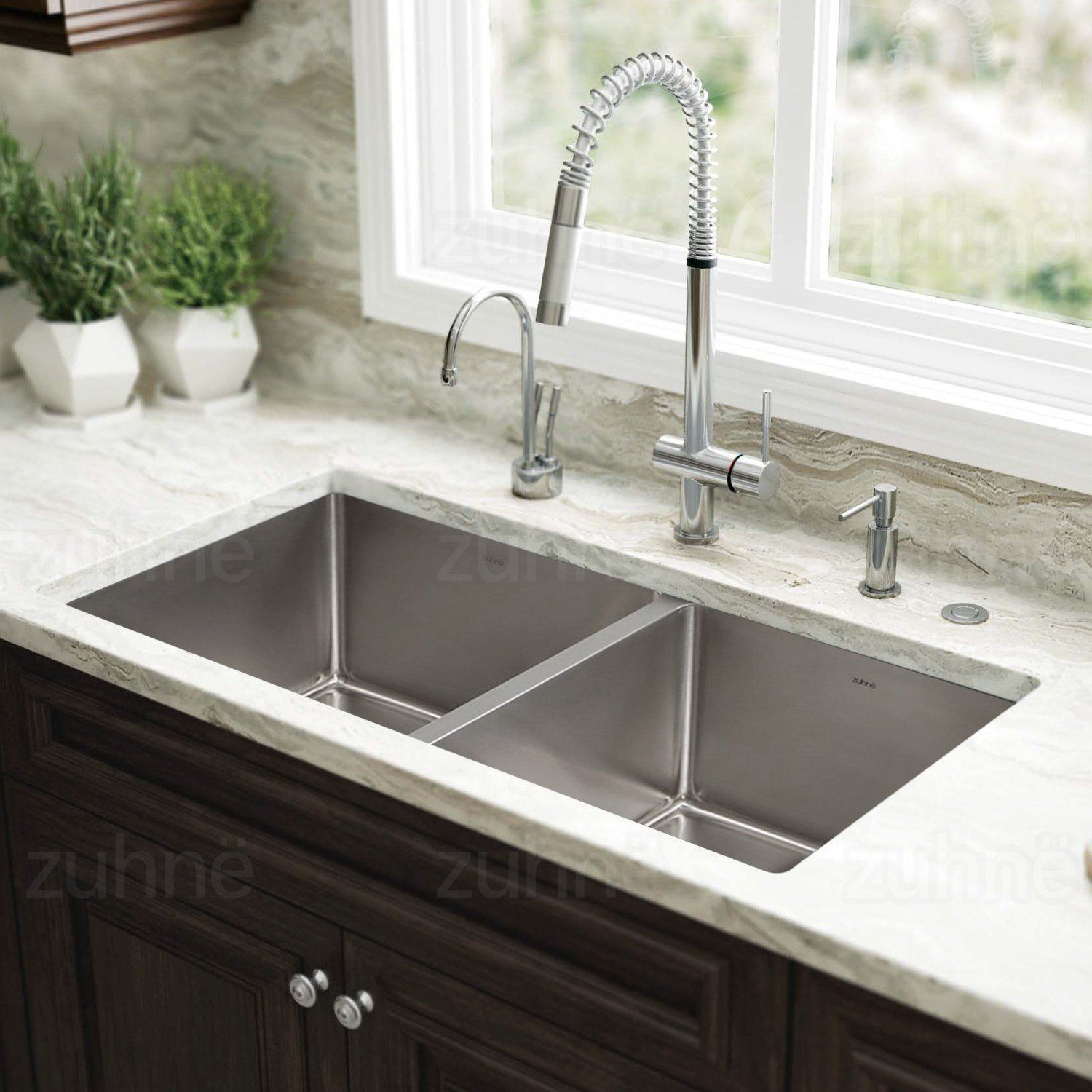 Zuhne 32 Inch Undermount 50 50 Deep Double Bowl 16 Gauge Stainless Steel Modern Kitchen Sink Best Kitchen Sinks Undermount Kitchen Sinks Kitchen Sink Design
