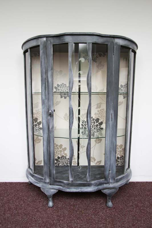 1920 39 s glass display cabinet in annie sloan graphite old for Painting over lead paint on furniture