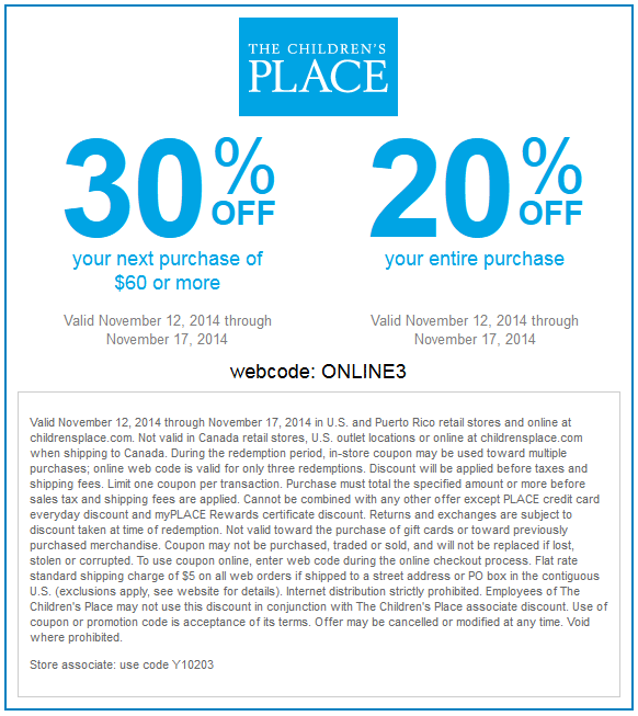 Active The Children's Place Discount Codes & Offers 12222