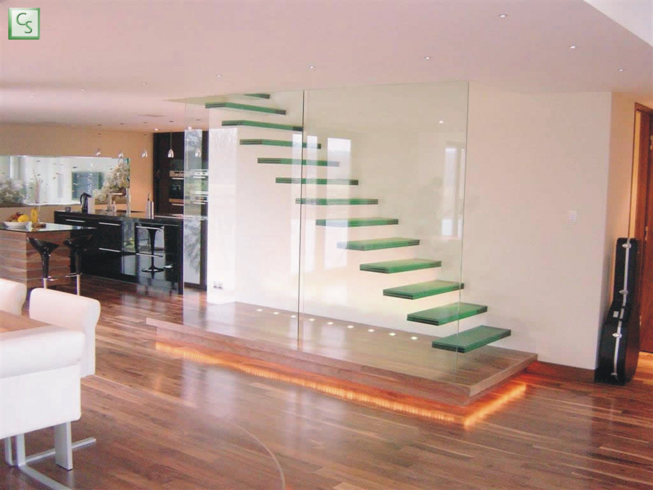 Accecories and Furniture,Fascinating Interior Home Design With Modern  Floating Staircase And Glass Divider Featuring Laminated Wooden Flooring  And Recessed ...