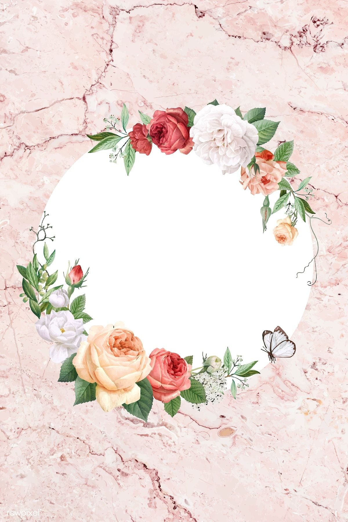 Floral frame on a marble background vector, 4k iphone and