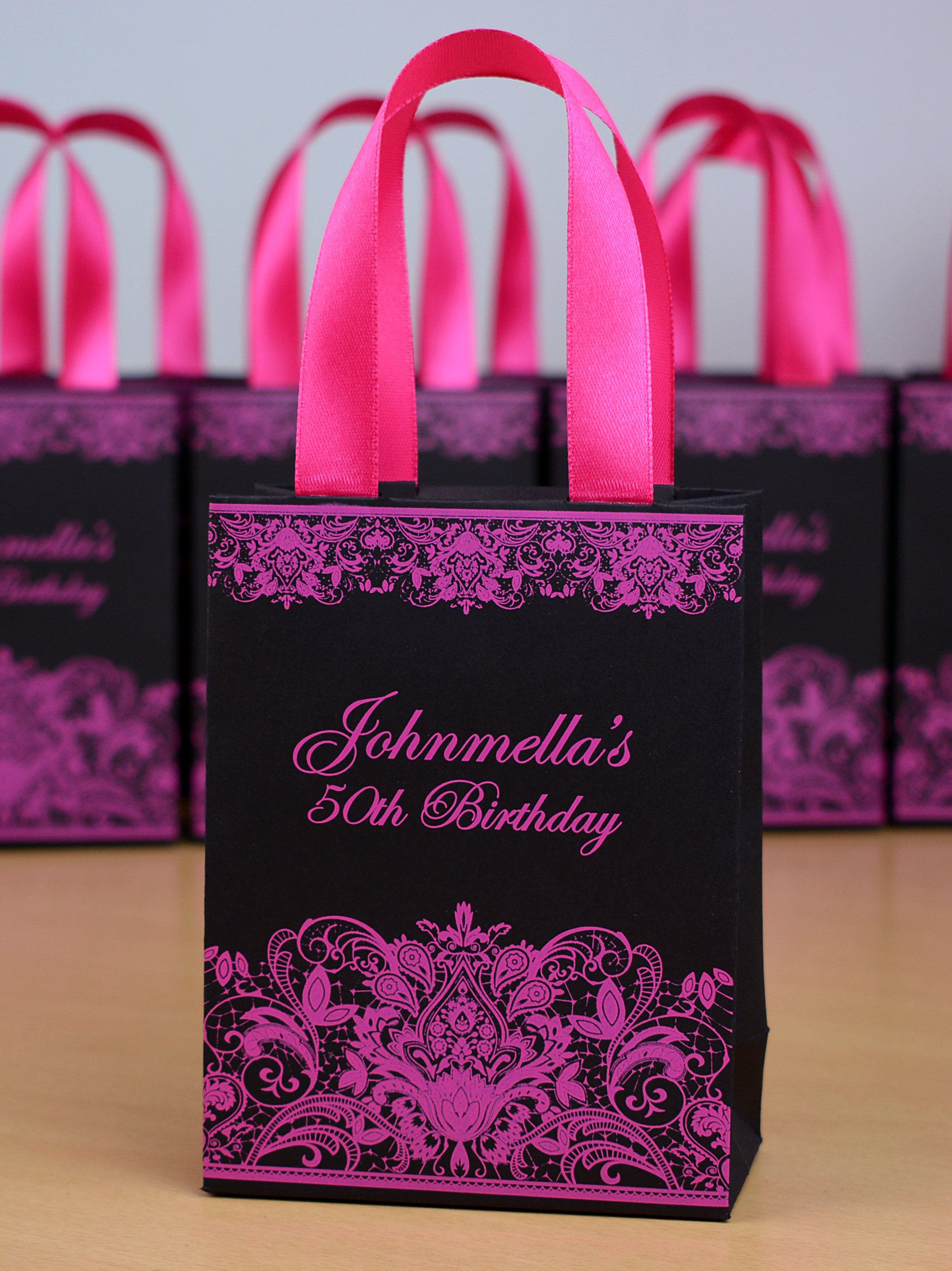 25 black pink birthday party gift bags with satin ribbon