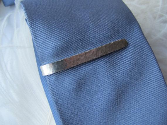 Men's Hammered Sterling Silver Tie Bar // Great for Grooms, Groomsmen, Anniversaries, & Birthdays. $48.00, via Etsy.
