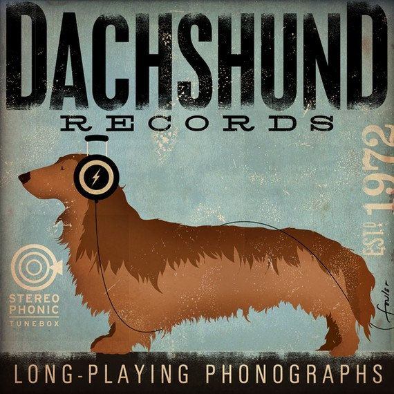 DACHSHUND records album style artwork on gallery wrapped canvas by Stephen Fowler