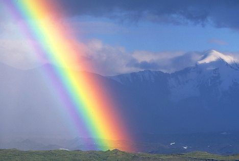 Rainbow - represents the symbol of peace and quiet, Noah Get this as a sign and a promise after the flood.
