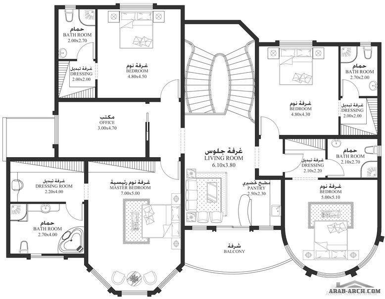 مساقط الفيلا 5 غرف 506 متر مربع طابقين سكن Square House Plans House Plans Mansion My House Plans