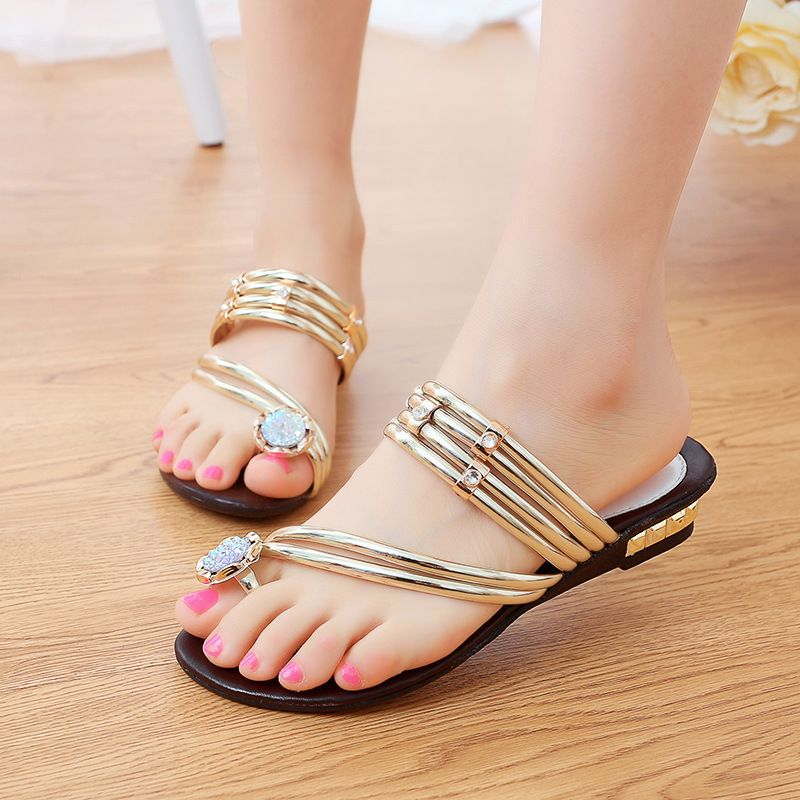 990e2936f34b ... Flip Flops Women Sandals Slipper Gold Rhinestone Flat Sandals Summer  Sandali Donna XWT210