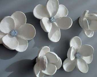 Custom Order White Petals With Silvery Blue Centers Ceramic Flower Wall Art Blooms Wedding Anniversary