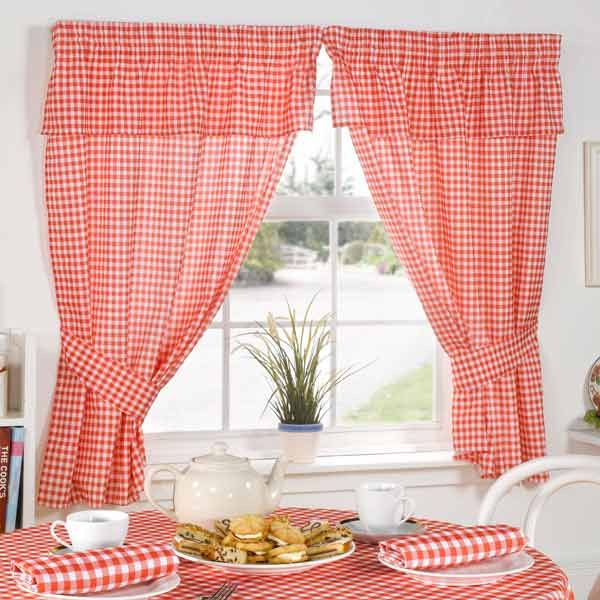Molly Gingham Check Kitchen Pencil Pleat Curtains, Red, 46 X 42 Inch