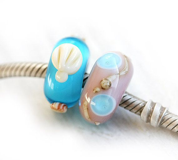 Beach Beads Shell Jewelry European Charms Blue Glass Beads